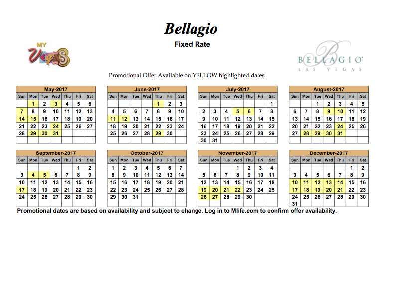 June Calendar Las Vegas : Bellagio dec  mark s las vegas