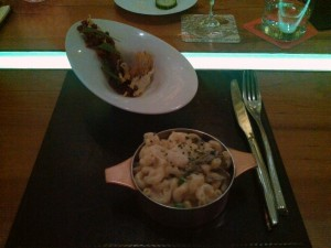 Beef Tartar and Truffled Mac & Cheese at American Fish at Aria