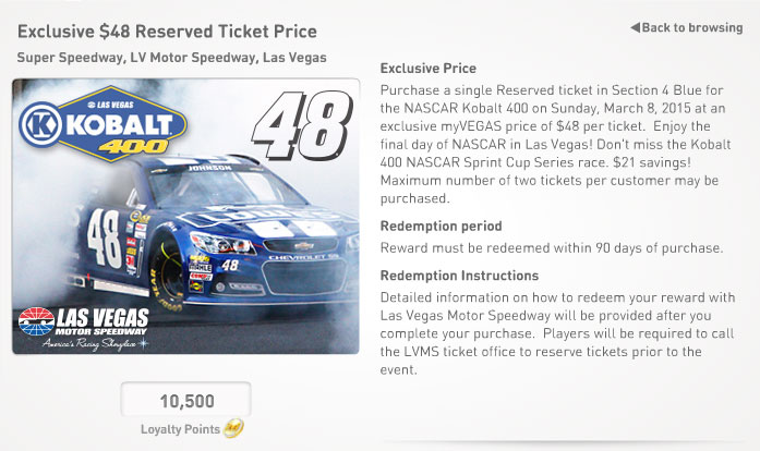 NASCAR 2015 Kobalt 400 Reward details